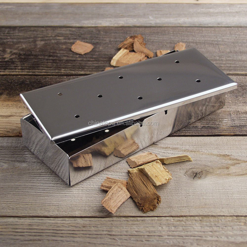 TOPQ Stainless Steel Smoker box with Lid for Grill BBQ Wood Chips