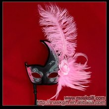 2012 Wholesale Ostrich Feather Pink and Black Carnival Masquerade Mask on Stick B006S