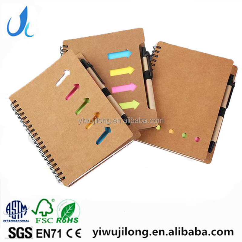 customised logo Kraft blank cover white lined inner paper spiral notebook with pen colorful sticky notes divider