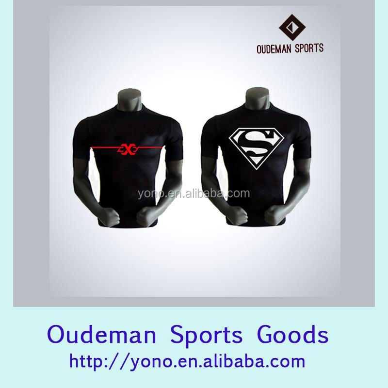 Spandex/polyester slim body building gym wear man's compression shirt