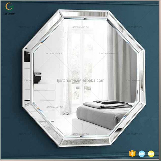 Large Wall Decorative Polygonal Wooden Ornate Mirror