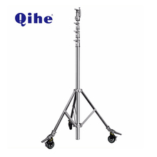 QIHE professional stainless steel photography led video studio camera light tripod stand with wheels
