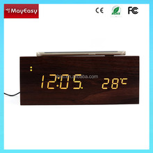 New design wooden bluetooth speaker box with alarm clock +NFC+thermometer led display