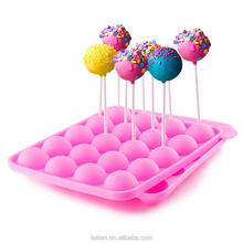 China factory 2017 hot sale 20 caves FDA non-sticking round ball silicone lollipop fondant mold