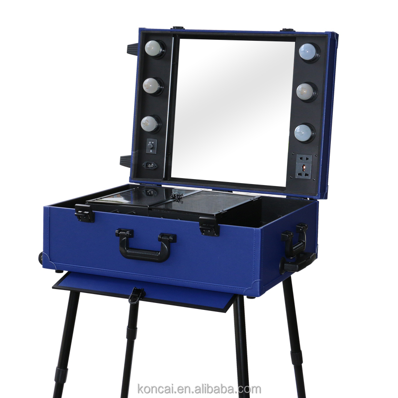 Stylish lighting makeup box stands beauty case for salon mirror station