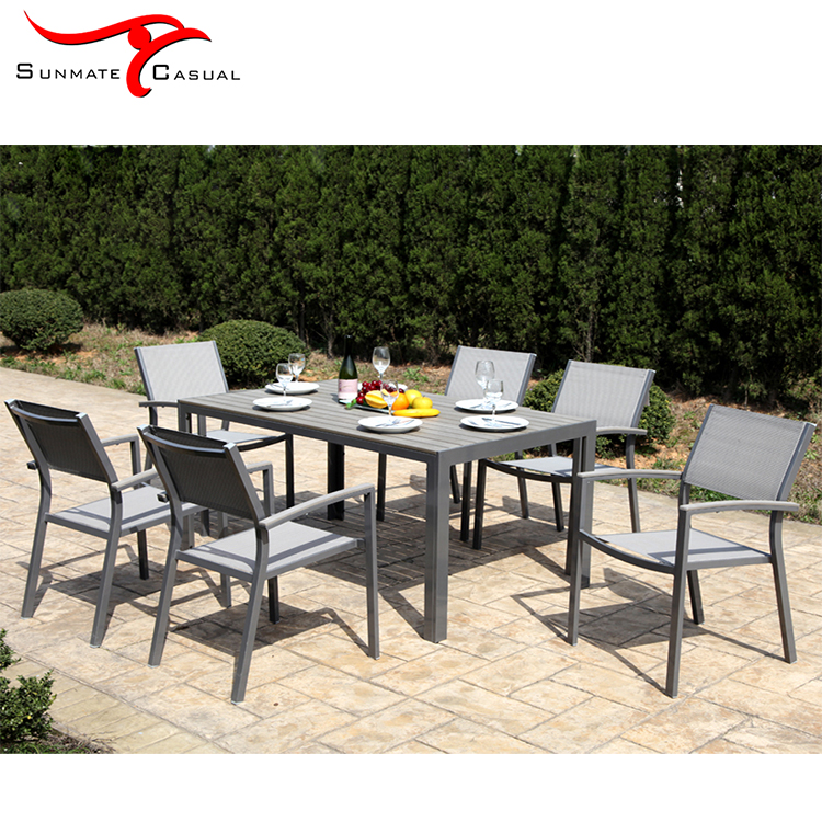 Aluminum Patio Sling Dining Set Furniture Garden Outdoor Table Set with Dining Chairs