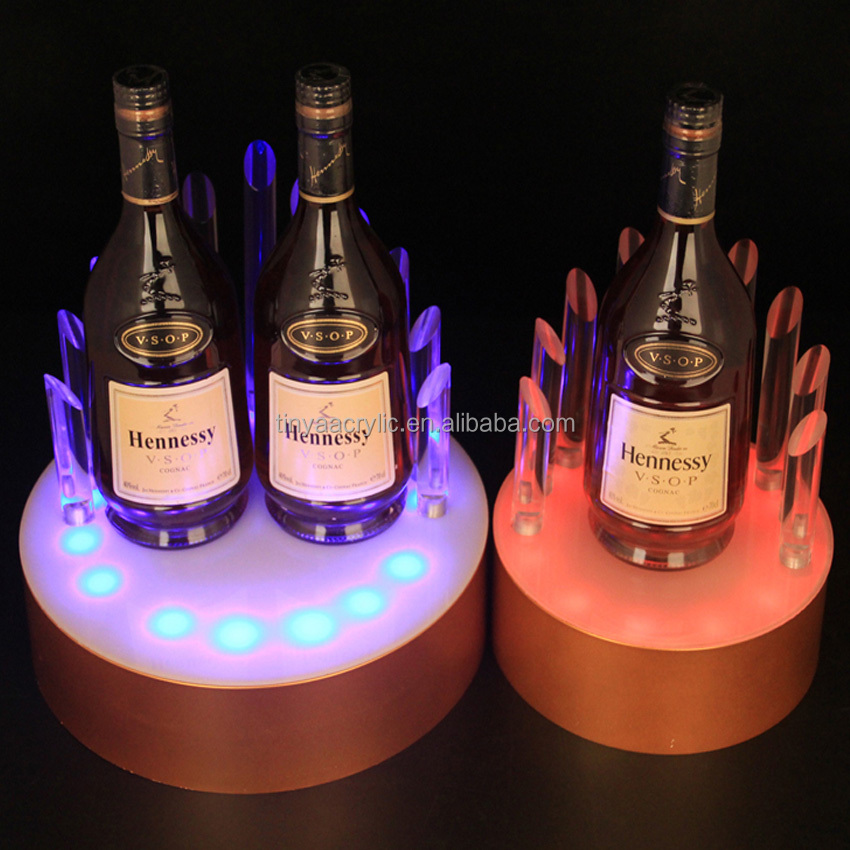 New Arrival Advertising Bar Glorifier Display For Beer/Whiskey,Custom Hot Selling LED Acrylic Wine Bottle Stand Display