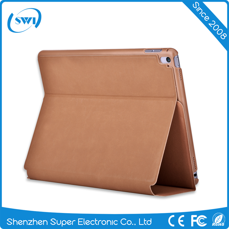 2016 trendy products Comma full protective shookproof luxury hard PU leather back cover case for iPad Pro 9.7