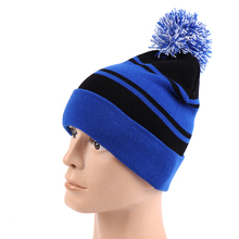 OEM Custom Blue Stripe Pom Pom Beanie Hat In 2018