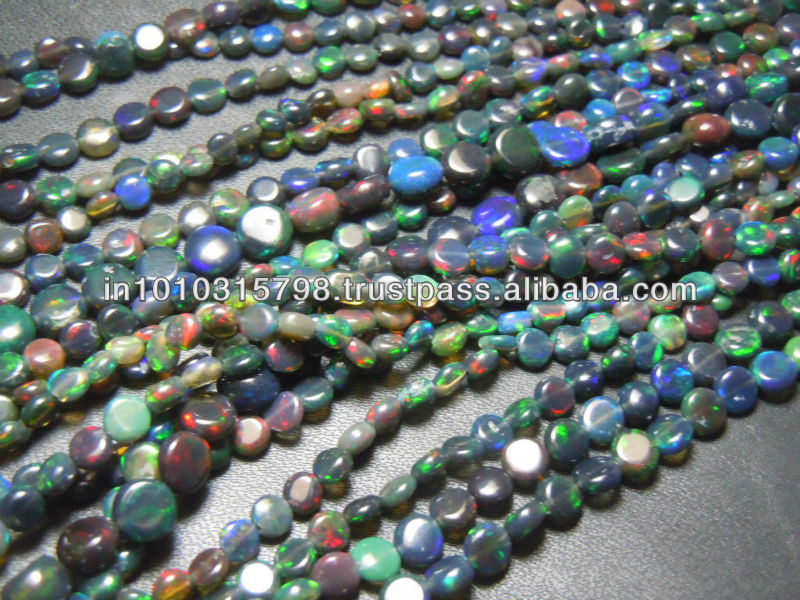 AAA High Quality Black Ethiopian Opal Gemstone Smooth Coin Shape Bads size 4mm Wholesale Price