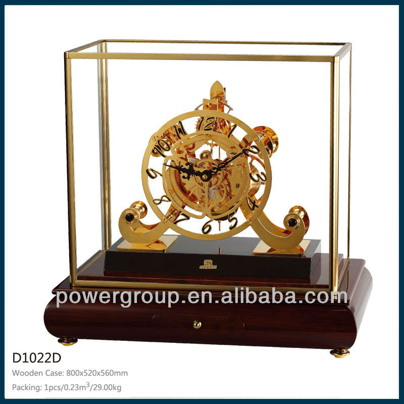 Wooden drawer table clock Brass metal part Glass cover for home decoration CE/FCC standrad D1022D