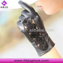 2013 new arrival fancy women black open hand flower elegant long leather glove
