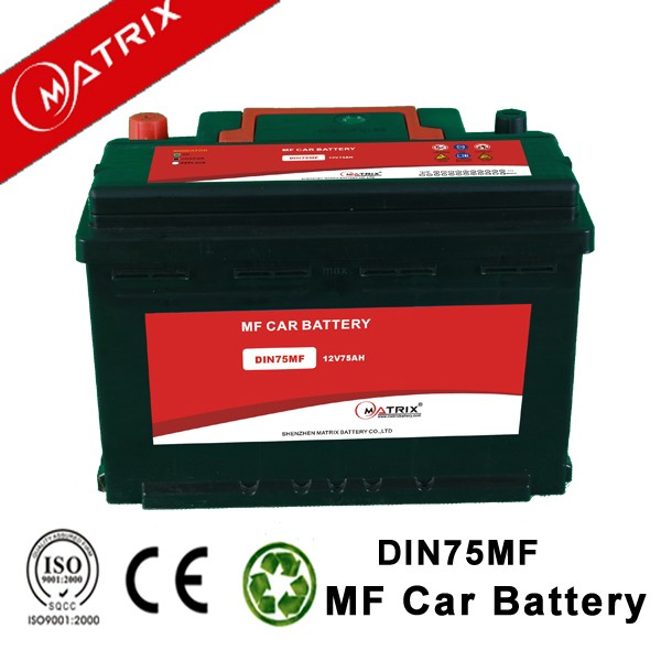 din 75 12V 75AH maintenance free mf cheapest car auto battery