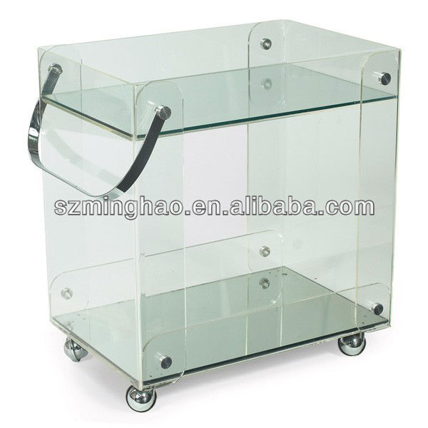 clear acrylic serving cart/perspex hotel service trolley/acrylic dining serving cart with wheels