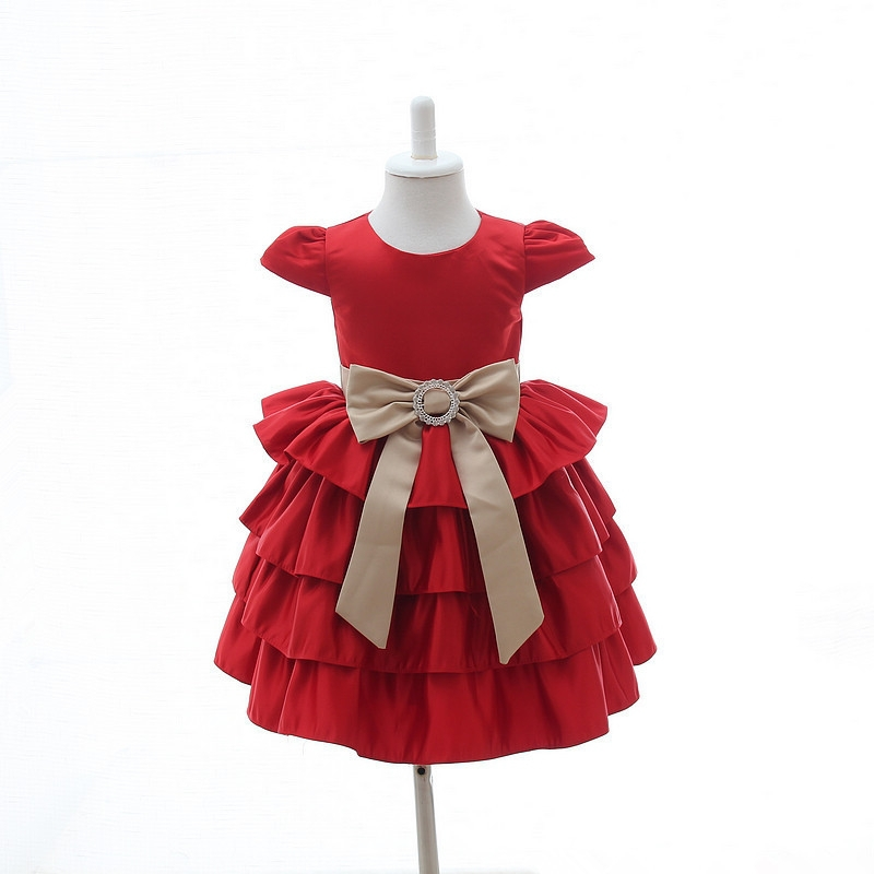 Red Little Kids Birthday Party Dress With Bow Baby 1 Year Old Party Dress
