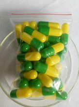 Green &Yellow empty gelatin capsule size 00# safety gelatin capsule manufacturer