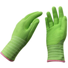 NMSAFETY coloful soft touch garden work use 13g green micro foam nitrile work light weight gloves