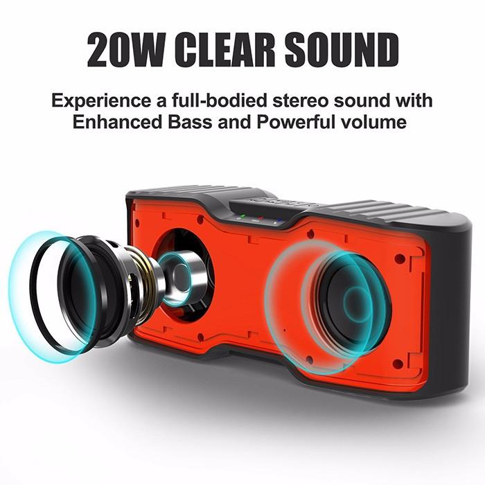 F2 2017 Nouvelle conception ipx7 étanche haut-parleur extérieur 2.0 bluetooth haut-parleur 20 W