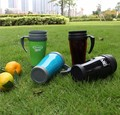 Plastic double wall tumbler with handle & lids, high quality plastic cup with insert paper