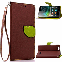 Factory price leather cover with card slots foldable leather back case for Huawei honor 4c