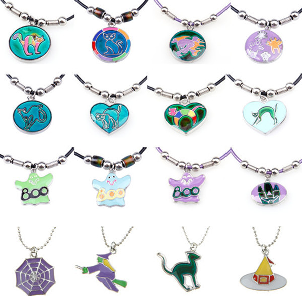 TD14103514 Latest Mood Color Changing Halloween Pumpkin Magic Pendant Necklace For Gifts