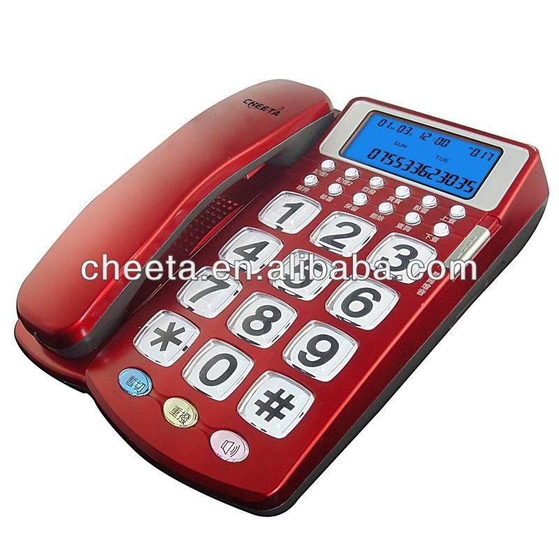 Dual line corded caller ID telephone with big crystal button