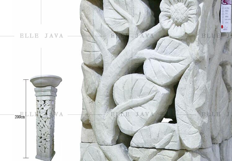 2 Meter High Sand Stone Carving Design Flower Pot with Stand