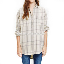 Wholan women's shirt lady light plaid oversized shirt woman clothes