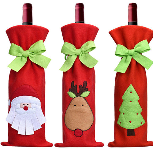 2016 new cheap Christmas Decorations Red Santa Tree Wine Bottle Cover Bags Dinner Party Gift