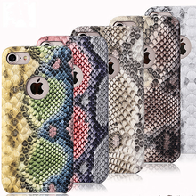 Snakeskin leather cover for iphone 7 snake leather case