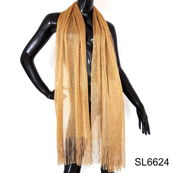 Evening cocktail knit shimmer lurex knit long wrap shawl gold scarf