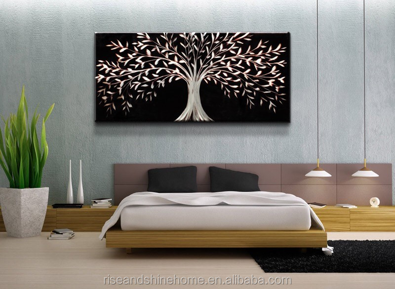 Wholesale modern tree decorative oil painting on canvas for bedroom