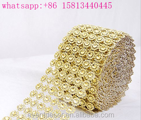 Flower design rhinestone wrapping rolls rhinestone mesh for weddings party decoration