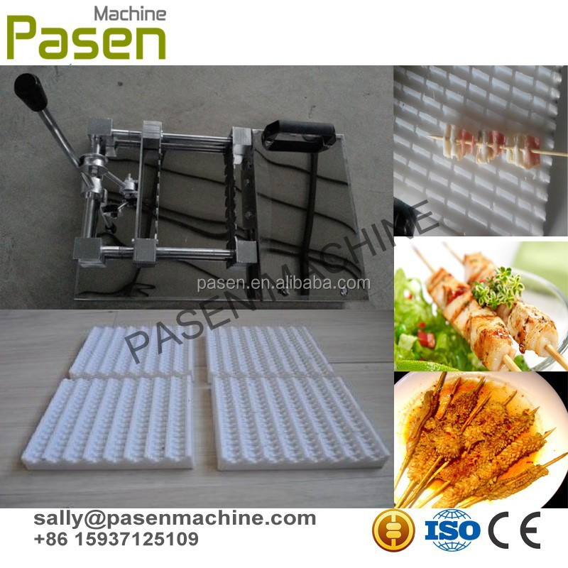 manual meat chicken BBQ kebab skewer machine