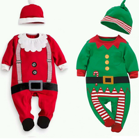 MS70068B cute baby long sleeve christmas clothing Santa Claus pattern rompers