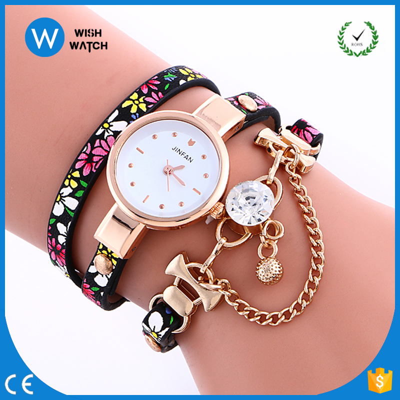 2966 Ladies Fashion Fancy Bracelet Watch Long Strap Leather Alloy Chain Classic Women Watches