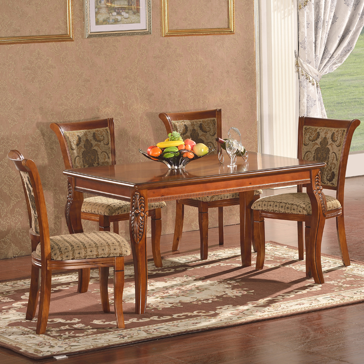 Indian style dining tables brown color 100% solid wooden tree daing table with 6 seater