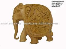 Elephant Wooden carving, elephant sculpture