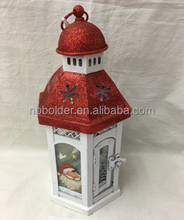 New decorative Santa Snowman Metal Frame Christmas Tealight Hanging Lantern WIth White Color On Top