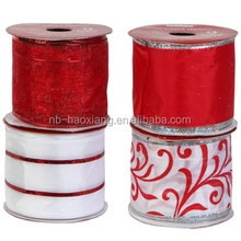 christmas house assorted red and write edged polyester ribbon for decoration