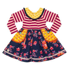 2018 new design kids boutique frock dresses stripes baby girl flower clothes spring long sleeve dress