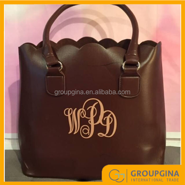 2016 Fashion New Design Monogrammed Scalloped Totes