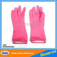 ISO/CE approved Flock lined latex household gloves/rubber kitchen cleaning gloves