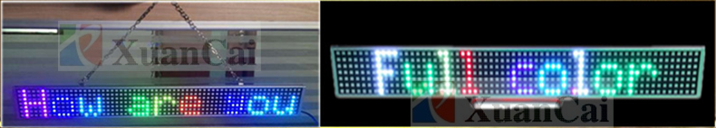 P8.75-7x64(57.5*7*1.2cmRGB 5050SMD/P7.62-8x80Monochrome 3528SMD programable one row 7 color scrolling text messages led sign