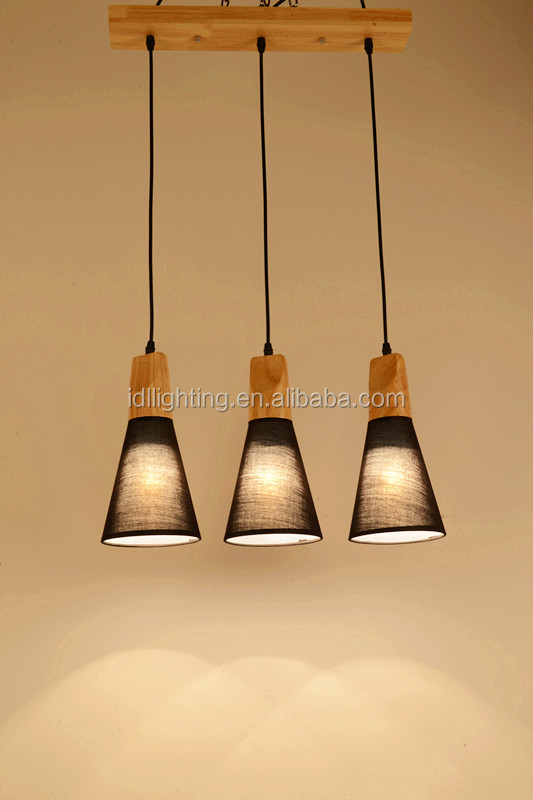 Wood pendant light fabric pendant and Energy Saving Light Source Industrial Lamp