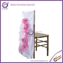 BS004 wedding elegant ruffle pink blush chiffon chair sash