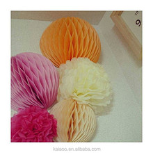 handmade hanging paper tissue pompom honeycomb banner lantern for wedding artificial decor