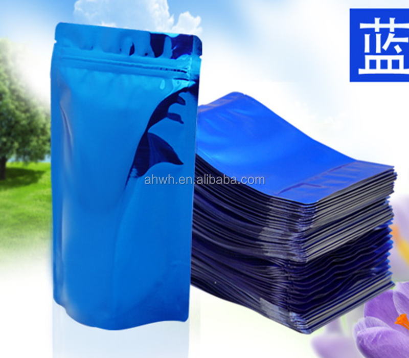 blue resealable plastic compound bag with zipper for dry food