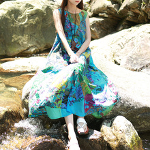 New Design Sleeveless Patchwork Beach Dress 2017 Summer Long Sundress Maxi Dress Women Tank Dresses Boho Style Vestidos