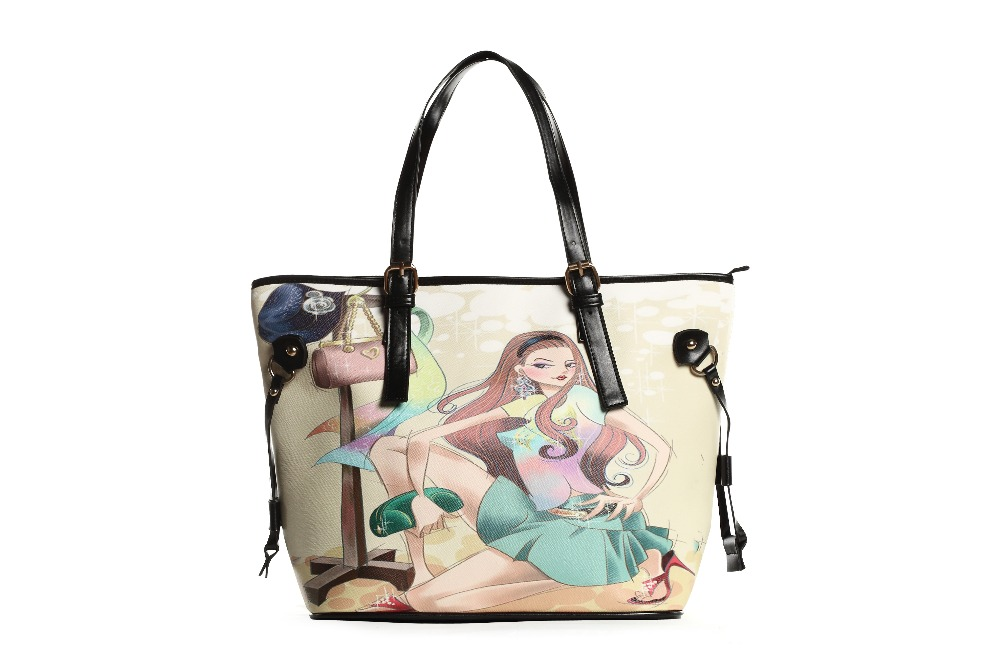 Beautiful Fashion Lady Tote Bag Printed Leather Handbag with Design Printed